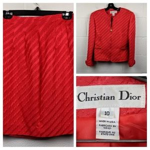 Christian Dior Vintage Red Silk Skirt Suit